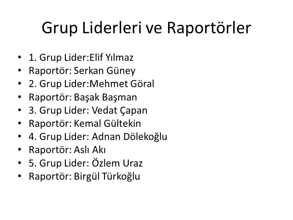 Grup Liderleri ve Raportörler • 1. Grup Lider:Elif Yılmaz • Raportör: Serkan Güney • 2. Grup Lider:Mehmet Göral • Raportör: Başak Başman • 3. Grup Lid