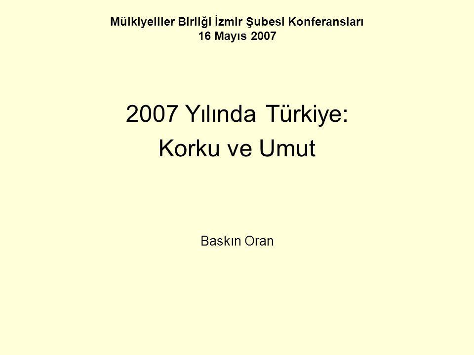 Mülkiyeliler Birliği İzmir Şubesi Konferansları 16 Mayıs 2007 2007 Yılında Türkiye: Korku ve Umut Baskın Oran