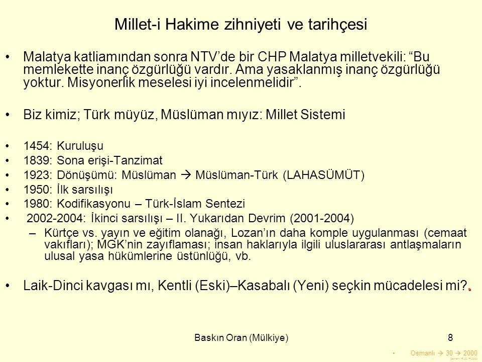 """Baskın Oran (Mülkiye)8 Millet-i Hakime zihniyeti ve tarihçesi •Malatya katliamından sonra NTV'de bir CHP Malatya milletvekili: """"Bu memlekette inanç öz"""