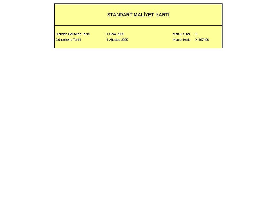 A malzemesin standart miktarı (1'nolu EGM'de) : 10,00 kg B malzemesin standart miktarı (2'nolu EGM'de) : 3,50 lt A malzemesin standart fiyatı : 1.82 YTL/kg B malzemesin standart fiyatı : 2.88 YTL/lt 010 nolu operasyon için standart süre: 1,70 DİS/br 020 nolu operasyon için standart süre: 2,10 DİS/br 010 nolu operasyon için standart ücreti: 3.00 YTL/DİS 020 nolu operasyon için standart ücreti: 2.50 YTL/DİS 1'nolu EGM'nin standart Yükleme Oranı: 4.50 YTL/DİS 2'nolu EGM'nin standart Yükleme Oranı: 5.00 YTL/DİS ÖRNEK: X mamulu için belirlediğimiz şu standartları bu karta işleyelim: