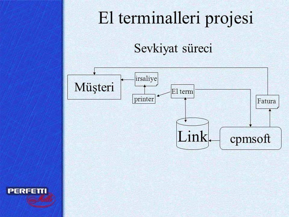 El terminalleri projesi Müşteri printer El term Link cpmsoft irsaliye Fatura Sevkiyat süreci