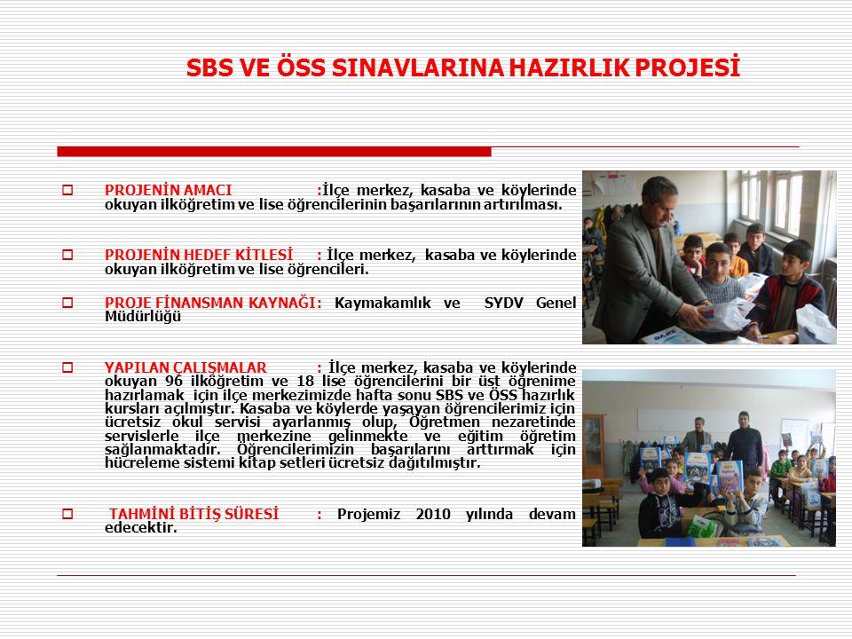 SBS VE ÖSS SINAVLARINA HAZIRLIK PROJESİ  PROJENİN AMACI:İlçe merkez, kasaba ve köylerinde okuyan ilköğretim ve lise öğrencilerinin başarılarının artırılması.