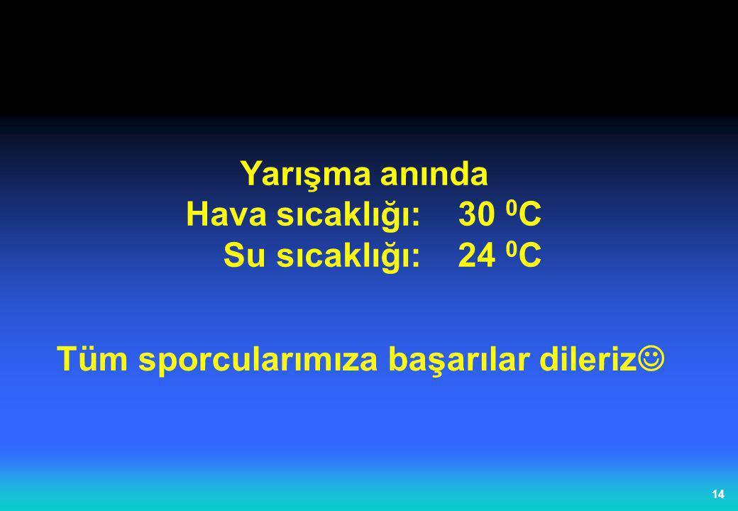 14 Yarışma anında Hava sıcaklığı:30 0 C Su sıcaklığı:24 0 C Tüm sporcularımıza başarılar dileriz 