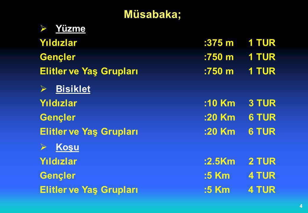 4  Yüzme Yıldızlar:375 m 1 TUR Gençler:750 m 1 TUR Elitler ve Yaş Grupları :750 m 1 TUR Müsabaka;  Bisiklet Yıldızlar:10 Km 3 TUR Gençler:20 Km 6 TU