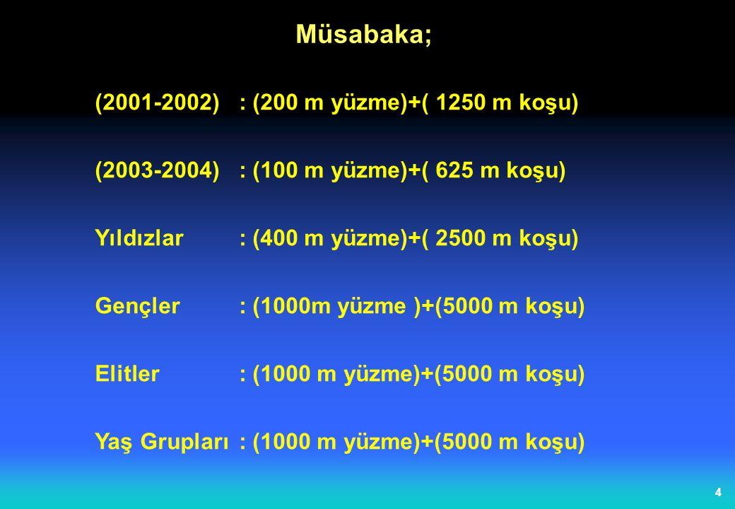 4 (2001-2002) : (200 m yüzme)+( 1250 m koşu) (2003-2004) : (100 m yüzme)+( 625 m koşu) Yıldızlar : (400 m yüzme)+( 2500 m koşu) Gençler : (1000m yüzme