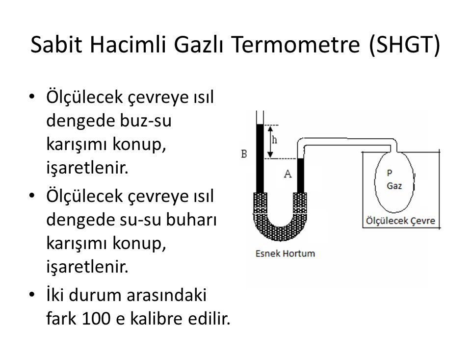 Sabit Hacimli Gazlı Termometre (SHGT) • Ölçülecek çevreye ısıl dengede buz-su karışımı konup, işaretlenir. • Ölçülecek çevreye ısıl dengede su-su buha