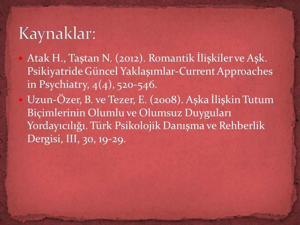  Atak H., Taştan N.(2012). Romantik İlişkiler ve Aşk.