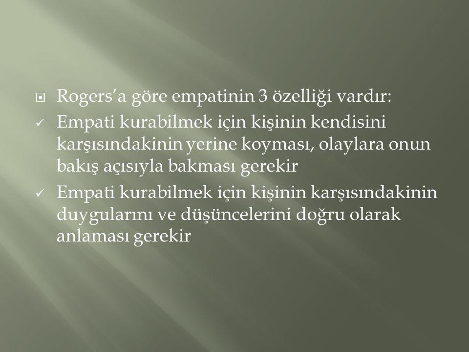  Rogers'a göre empatinin 3 özelliği vardır:  Empati kurabilmek için kişinin kendisini karşısındakinin yerine koyması, olaylara onun bakış açısıyla b