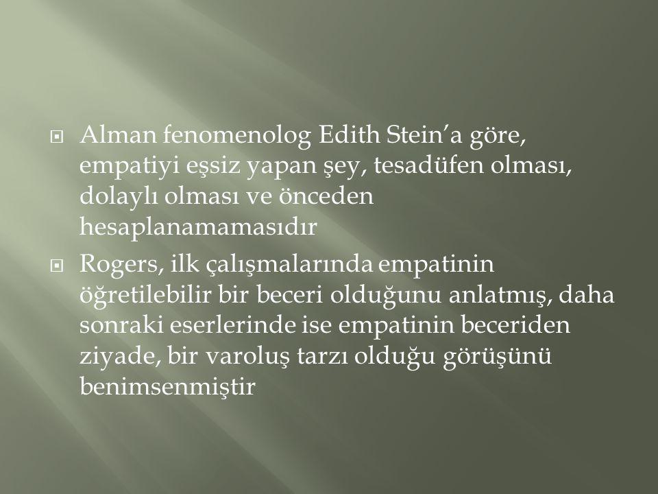  Alman fenomenolog Edith Stein'a göre, empatiyi eşsiz yapan şey, tesadüfen olması, dolaylı olması ve önceden hesaplanamamasıdır  Rogers, ilk çalışma
