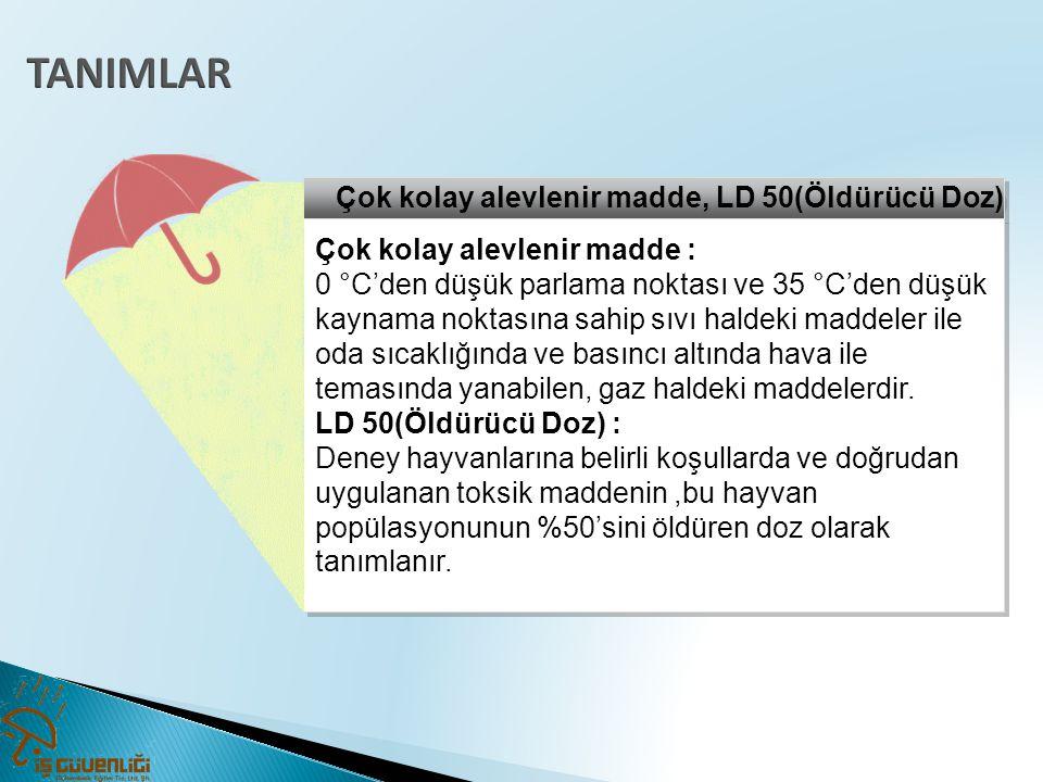 Çok kolay alevlenir madde, LD 50(Öldürücü Doz) Çok kolay alevlenir madde : 0 °C'den düşük parlama noktası ve 35 °C'den düşük kaynama noktasına sahip s
