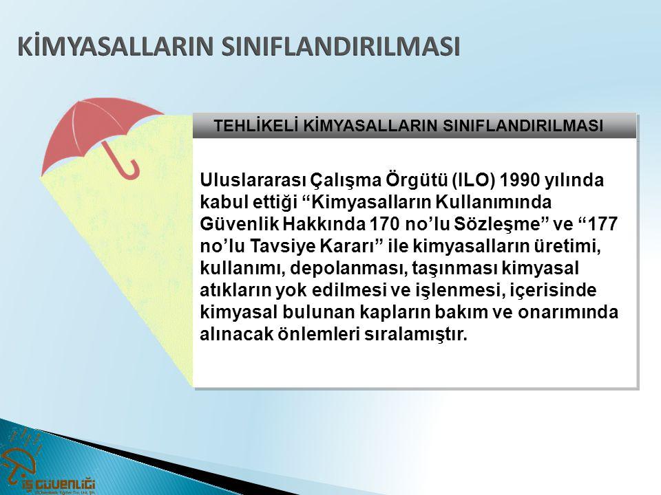"""TEHLİKELİ KİMYASALLARIN SINIFLANDIRILMASI Uluslararası Çalışma Örgütü (ILO) 1990 yılında kabul ettiği """"Kimyasalların Kullanımında Güvenlik Hakkında 17"""