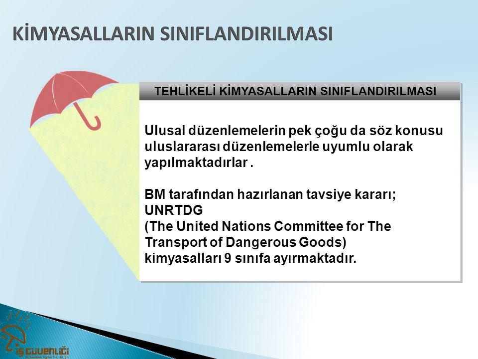 TEHLİKELİ KİMYASALLARIN SINIFLANDIRILMASI Ulusal düzenlemelerin pek çoğu da söz konusu uluslararası düzenlemelerle uyumlu olarak yapılmaktadırlar. BM