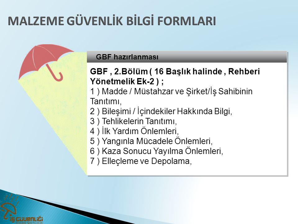 GBF hazırlanması GBF, 2.Bölüm ( 16 Başlık halinde, Rehberi Yönetmelik Ek-2 ) ; 1 ) Madde / Müstahzar ve Şirket/İş Sahibinin Tanıtımı, 2 ) Bileşimi / İ
