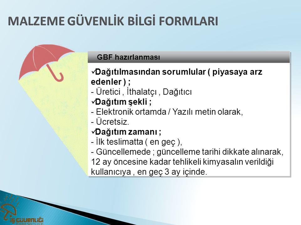 GBF hazırlanması  Dağıtılmasından sorumlular ( piyasaya arz edenler ) ; - Üretici, İthalatçı, Dağıtıcı  Dağıtım şekli ; - Elektronik ortamda / Yazıl