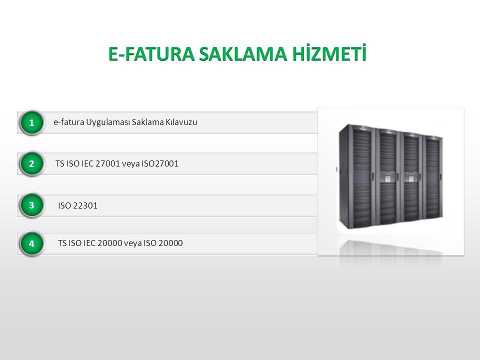 • e-fatura Uygulaması Saklama Kılavuzu 1 • TS ISO IEC 27001 veya ISO27001 • ISO 22301 • TS ISO IEC 20000 veya ISO 20000 2 3 4