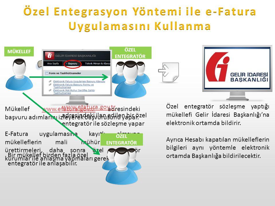 SÖZLEŞME MÜKELLEF ÖZEL ENTEGRATÖR Mükellef www.efatura.gov.tr adresindeki başvuru adımlarını izleyerek başvurusunu yapar.www.efatura.gov.tr E-Fatura uygulamasına kayıtlı olmayan mükelleflerin mali mühür sertifikası ürettirmeleri, daha sonra özel entegratör kurumlar ile anlaşma yapmaları gerekmektedir.