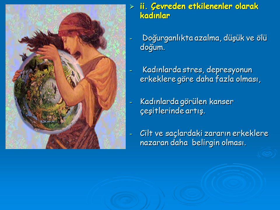 i) Çevreyi etkileyenler olarak kadınlar -Bilinçsiz kozmetik kullanımı -Evsel atıkların doğaya tedbirsiz bir biçimde bırakılması -Elektronik cihazların