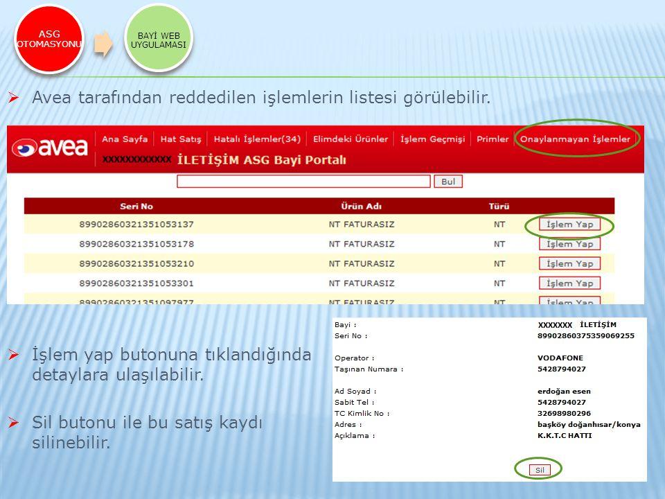 ASG OTOMASYONU BAYİ WEB UYGULAMASI  Avea tarafından reddedilen işlemlerin listesi görülebilir.  İşlem yap butonuna tıklandığında detaylara ulaşılabi