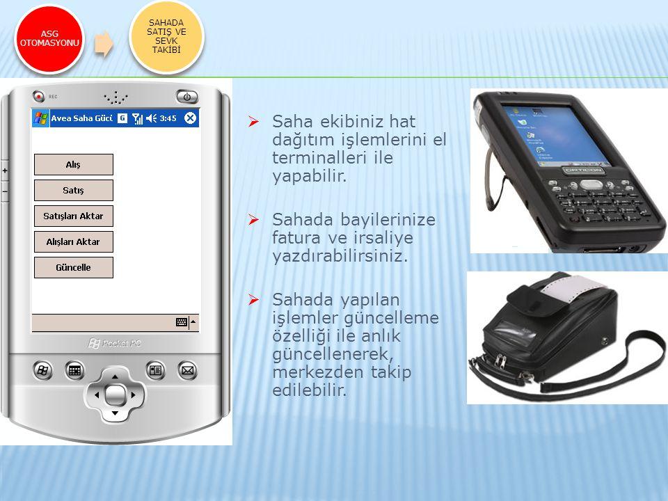 ASG OTOMASYONU SAHADA SATIŞ VE SEVK TAKİBİ  Saha ekibiniz hat dağıtım işlemlerini el terminalleri ile yapabilir.  Sahada bayilerinize fatura ve irsa