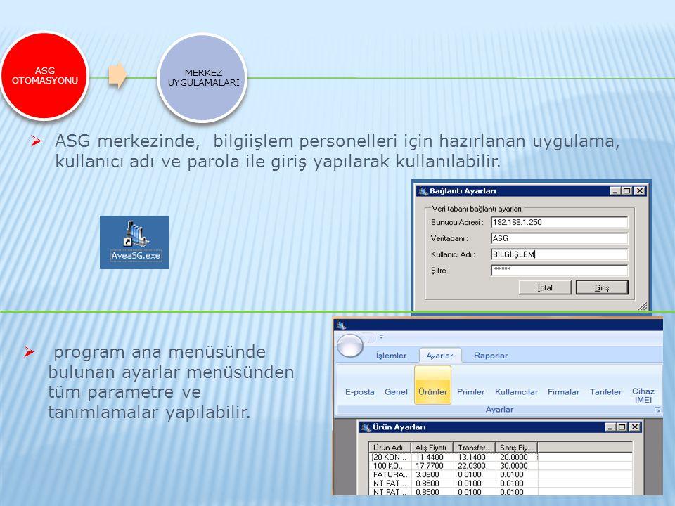 ASG OTOMASYONU MERKEZ UYGULAMALARI  ASG merkezinde, bilgiişlem personelleri için hazırlanan uygulama, kullanıcı adı ve parola ile giriş yapılarak kul