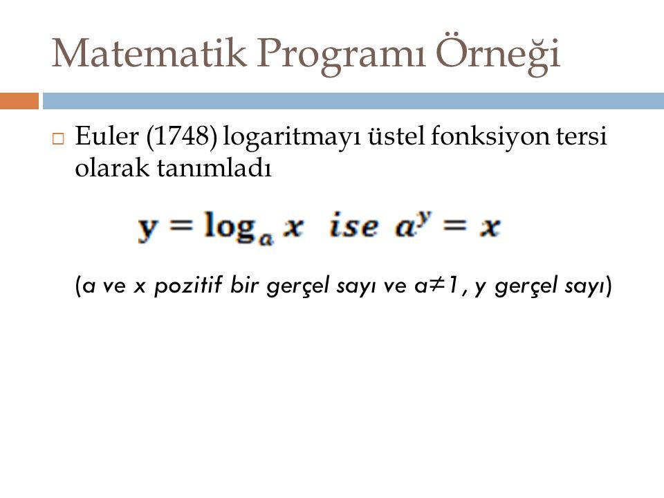 Matematik Programı Örneği  Euler (1748) logaritmayı üstel fonksiyon tersi olarak tanımladı (a ve x pozitif bir gerçel sayı ve a≠1, y gerçel sayı)