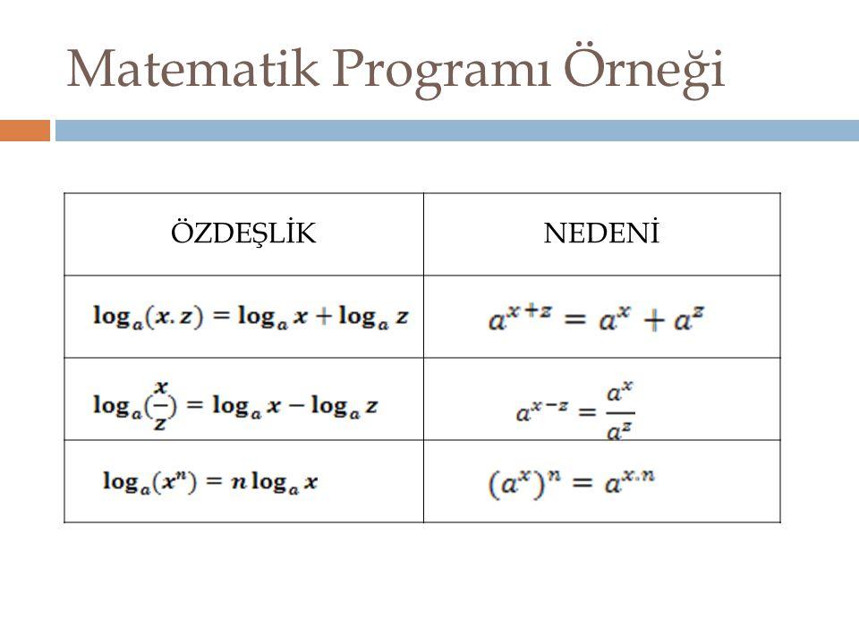 Matematik Programı Örneği ÖZDEŞLİKNEDENİ