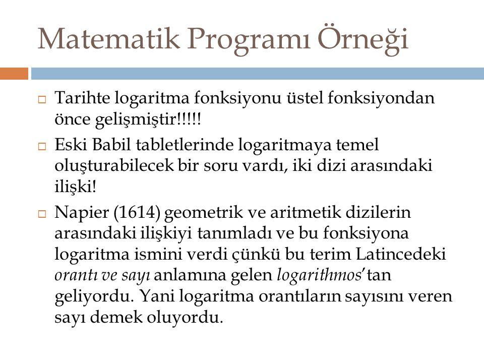 Matematik Programı Örneği  Tarihte logaritma fonksiyonu üstel fonksiyondan önce gelişmiştir!!!!!  Eski Babil tabletlerinde logaritmaya temel oluştur