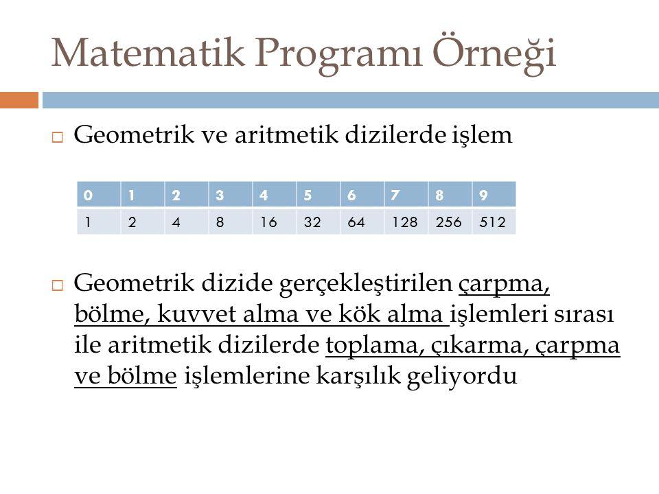 Matematik Programı Örneği  Geometrik ve aritmetik dizilerde işlem  Geometrik dizide gerçekleştirilen çarpma, bölme, kuvvet alma ve kök alma işlemler