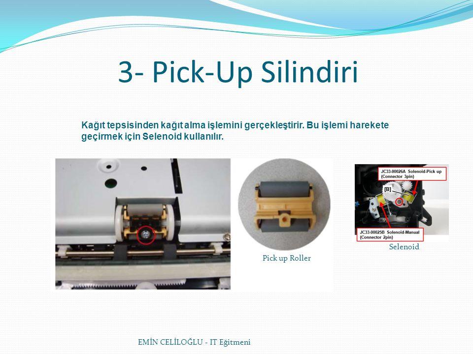 3- Pick-Up Silindiri EMİN CELİLOĞLU - IT Eğitmeni Kağıt tepsisinden kağıt alma işlemini gerçekleştirir. Bu işlemi harekete geçirmek için Selenoid kull