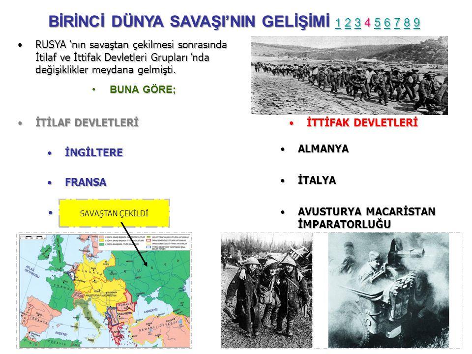 •RUSYA •RUSYA 'nın savaştan çekilmesi sonrasında İtilaf ve İttifak Devletleri Grupları 'nda değişiklikler meydana gelmişti.