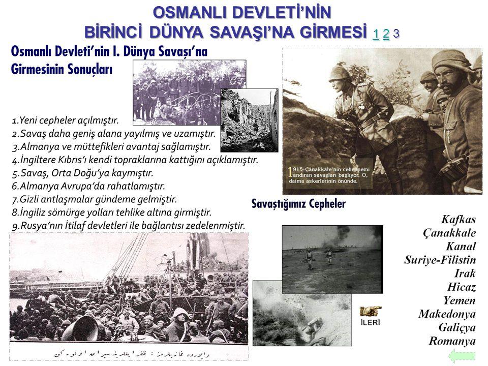 OSMANLI DEVLETİ'NİN BİRİNCİ DÜNYA SAVAŞI'NA GİRMESİ 1 2 3 12 12