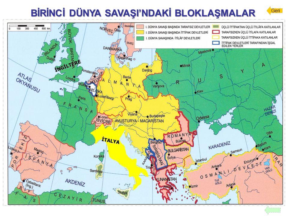 BİRİNCİ DÜNYA SAVAŞI'NIN SONUÇLARI Yenen Devletler ile Yenilen Devletler arasında antlaşmalar imzalandı 7.