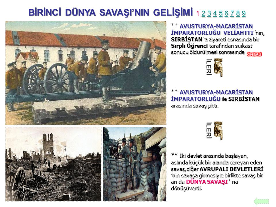 BİRİNCİ DÜNYA SAVAŞI'NIN GELİŞİMİ 1 2 3 4 5 6 7 8 9 2345678923456789 AVUSTURYA-MACARİSTAN İMPARATORLUĞU VELİAHTTI 'nın, SIRBİSTAN 'a ziyareti esnasında bir Sırplı Öğrenci tarafından suikast sonucu öldürülmesi sonrasında ** AVUSTURYA-MACARİSTAN İMPARATORLUĞU VELİAHTTI 'nın, SIRBİSTAN 'a ziyareti esnasında bir Sırplı Öğrenci tarafından suikast sonucu öldürülmesi sonrasında AVUSTURYA-MACARİSTAN İMPARATORLUĞU ile SIRBİSTAN arasında savaş çıktı.