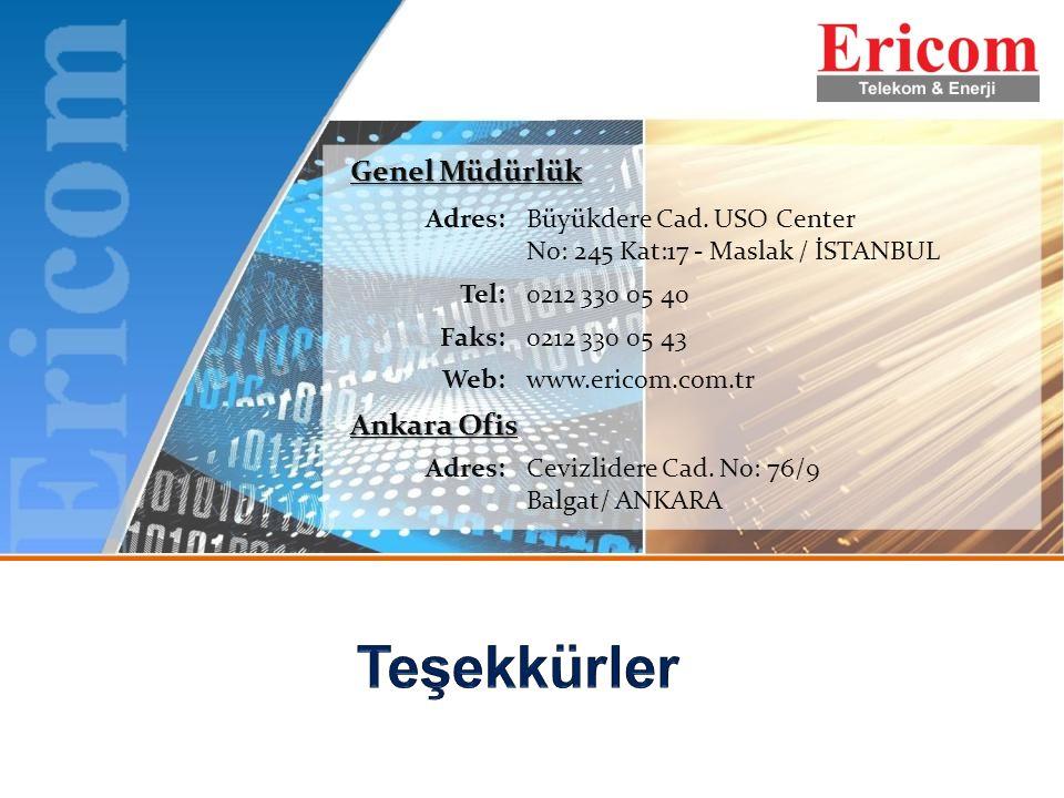 Genel Müdürlük Adres:Büyükdere Cad. USO Center No: 245 Kat:17 - Maslak / İSTANBUL Tel:0212 330 05 40 Faks:0212 330 05 43 Web:www.ericom.com.tr Ankara