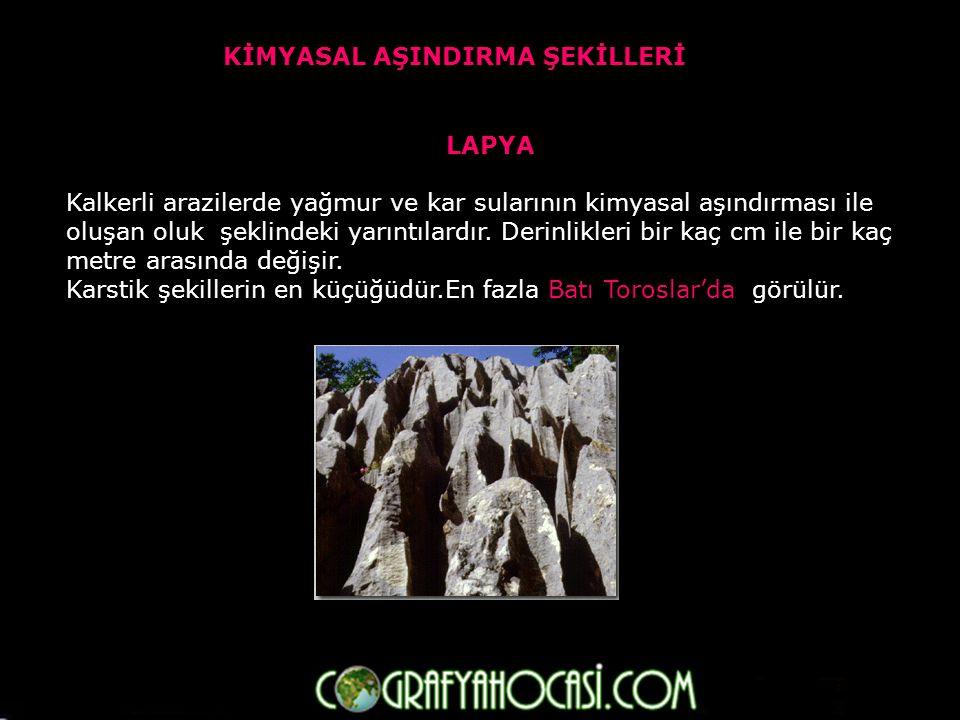 KİMYASAL BİRİKİM ŞEKİLLERİ DAMLATAŞ (Sarkıt-Dikit-Sütun) Kalkerli arazilerdeki mağara tavanından damlayan yer altı suları içindeki erimiş haldeki kalkerin çökelmesi ile oluşur.