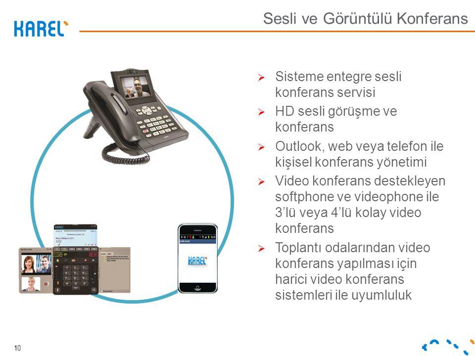 10 Sesli ve Görüntülü Konferans  Sisteme entegre sesli konferans servisi  HD sesli görüşme ve konferans  Outlook, web veya telefon ile kişisel konf