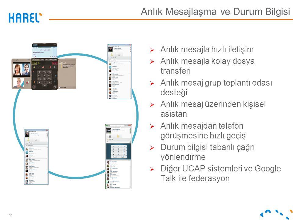 Anlık Mesajlaşma ve Durum Bilgisi  Anlık mesajla hızlı iletişim  Anlık mesajla kolay dosya transferi  Anlık mesaj grup toplantı odası desteği  Anl