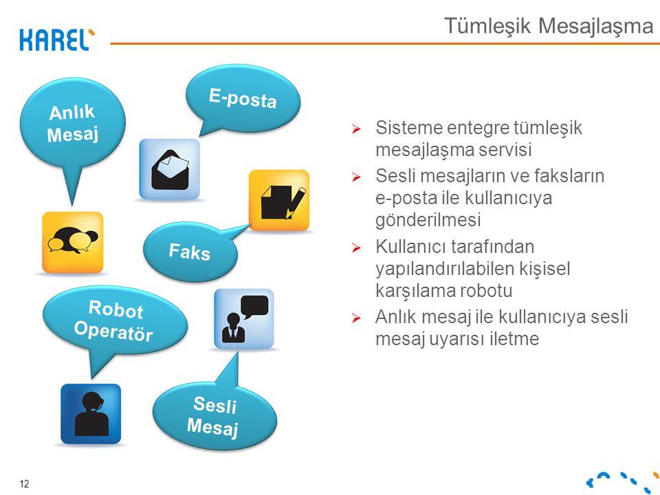 Anlık Mesaj Anlık Mesaj E-posta Faks Robot Operatör Sesli Mesaj  Sisteme entegre tümleşik mesajlaşma servisi  Sesli mesajların ve faksların e-posta