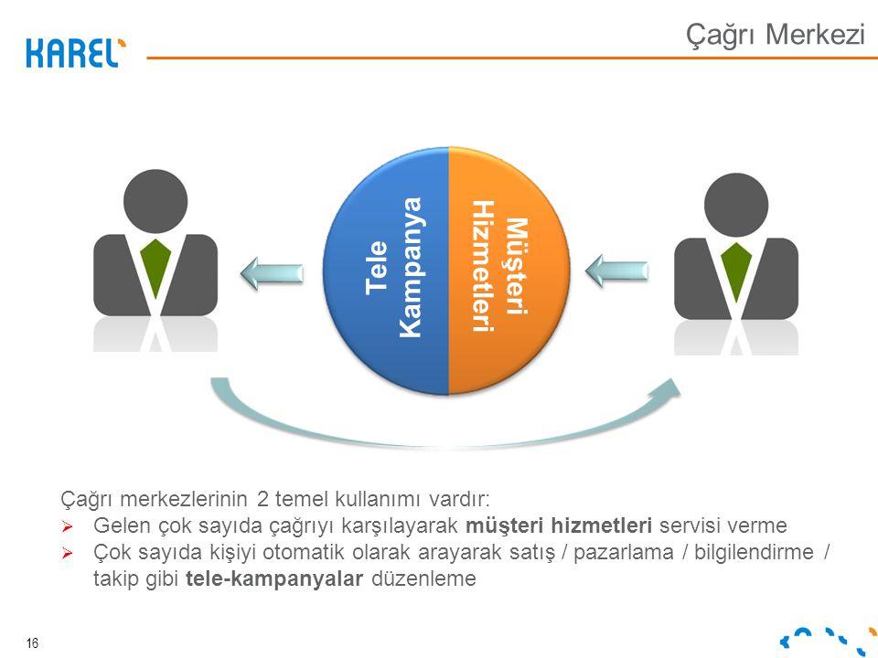 Tele Kampanya Müşteri Hizmetleri Çağrı merkezlerinin 2 temel kullanımı vardır:  Gelen çok sayıda çağrıyı karşılayarak müşteri hizmetleri servisi verm
