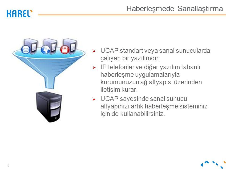  UCAP standart veya sanal sunucularda çalışan bir yazılımdır.  IP telefonlar ve diğer yazılım tabanlı haberleşme uygulamalarıyla kurumunuzun ağ alty