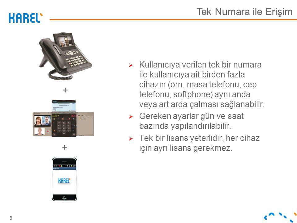  Kullanıcıya verilen tek bir numara ile kullanıcıya ait birden fazla cihazın (örn. masa telefonu, cep telefonu, softphone) aynı anda veya art arda ça