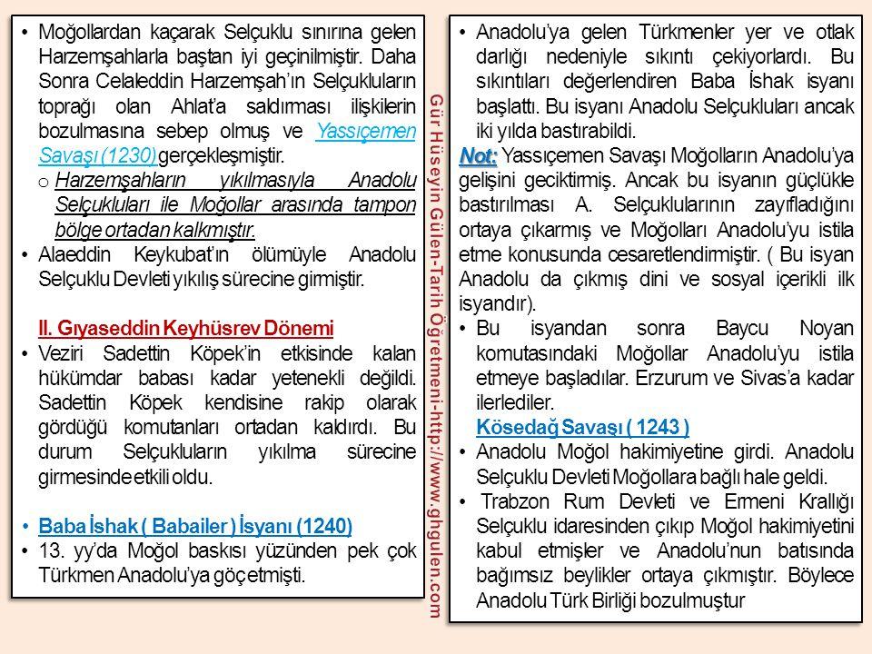 •Anadolu'ya gelen Türkmenler yer ve otlak darlığı nedeniyle sıkıntı çekiyorlardı. Bu sıkıntıları değerlendiren Baba İshak isyanı başlattı. Bu isyanı A