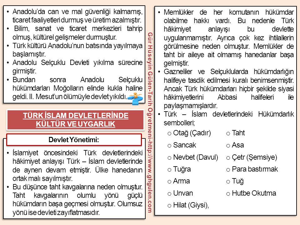 •Anadolu'da can ve mal güvenliği kalmamış, ticaret faaliyetleri durmuş ve üretim azalmıştır. • Bilim, sanat ve ticaret merkezleri tahrip olmuş, kültür