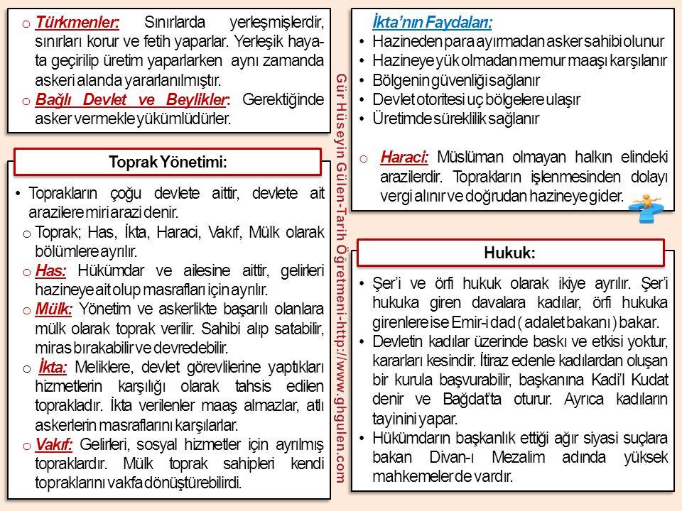 o Türkmenler: Sınırlarda yerleşmişlerdir, sınırları korur ve fetih yaparlar. Yerleşik haya- ta geçirilip üretim yaparlarken aynı zamanda askeri alanda