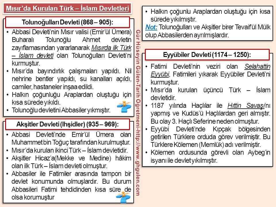 •Aybeg tarafından kurulan Memlük Devleti, Mısır'da kurulan dördüncü ve son Türk – İslam devletidir.