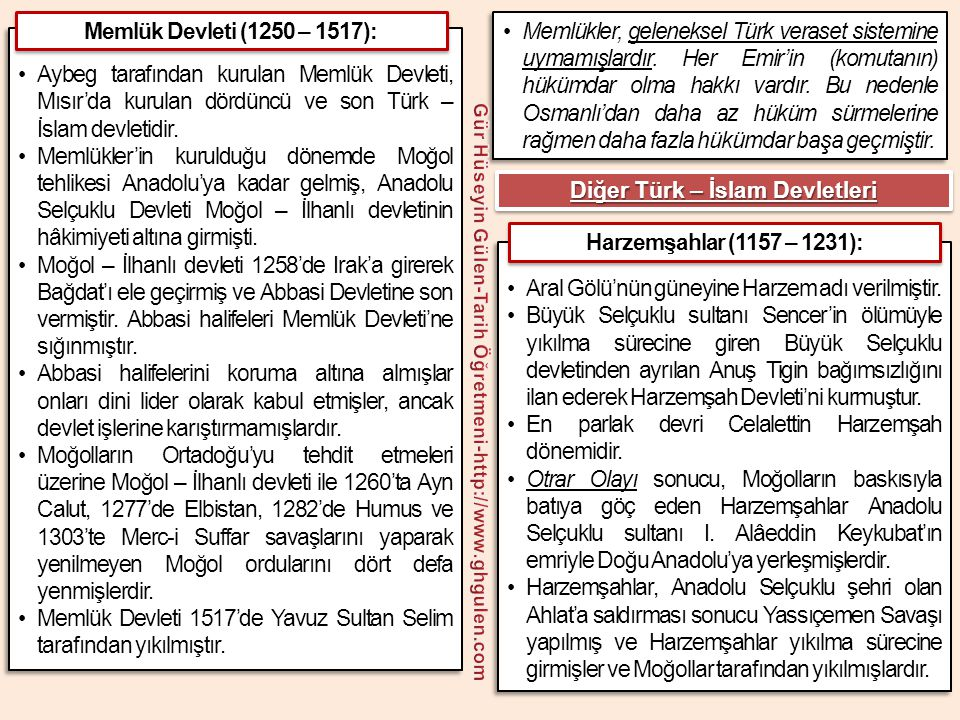 •Aybeg tarafından kurulan Memlük Devleti, Mısır'da kurulan dördüncü ve son Türk – İslam devletidir. •Memlükler'in kurulduğu dönemde Moğol tehlikesi An