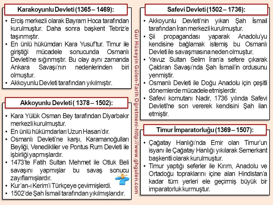•Kafkaslarda Altınorda Devleti'ni zayıflatarak Rusların güçlenmesinin önünü açmış, Ankara Savaşı ile Osmanlı Devleti'ni Fetret Dönemi'ne sokmuştur.