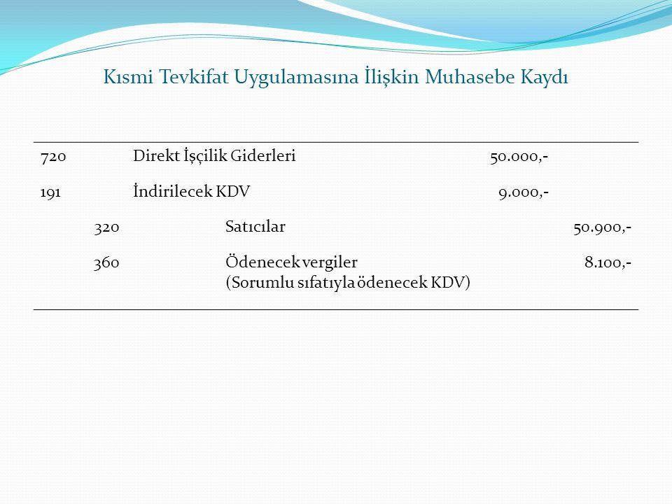 Kısmi Tevkifat Uygulamasına İlişkin Muhasebe Kaydı 720Direkt İşçilik Giderleri50.000,- 191İndirilecek KDV 9.000,- 320 Satıcılar50.900,- 360 Ödenecek v