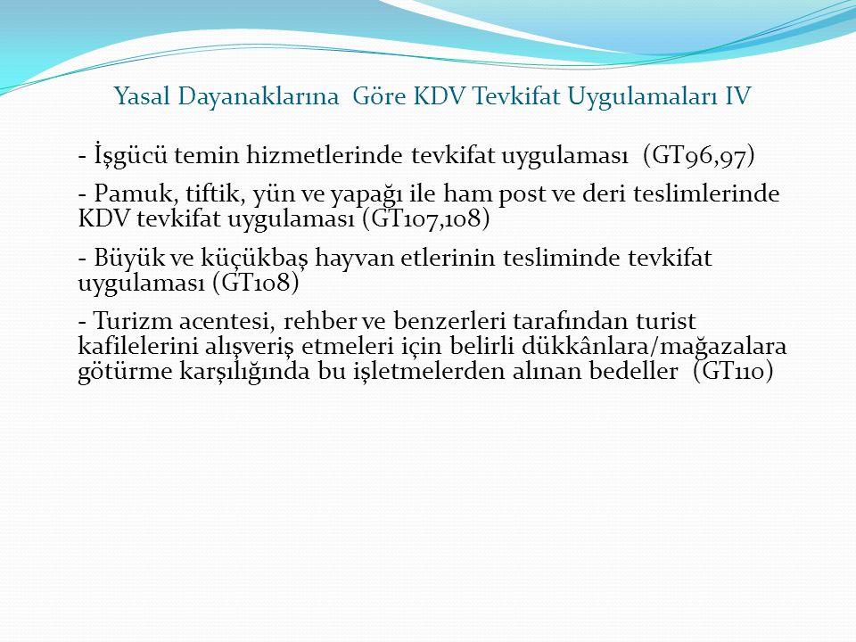 - İşgücü temin hizmetlerinde tevkifat uygulaması (GT96,97) - Pamuk, tiftik, yün ve yapağı ile ham post ve deri teslimlerinde KDV tevkifat uygulaması (