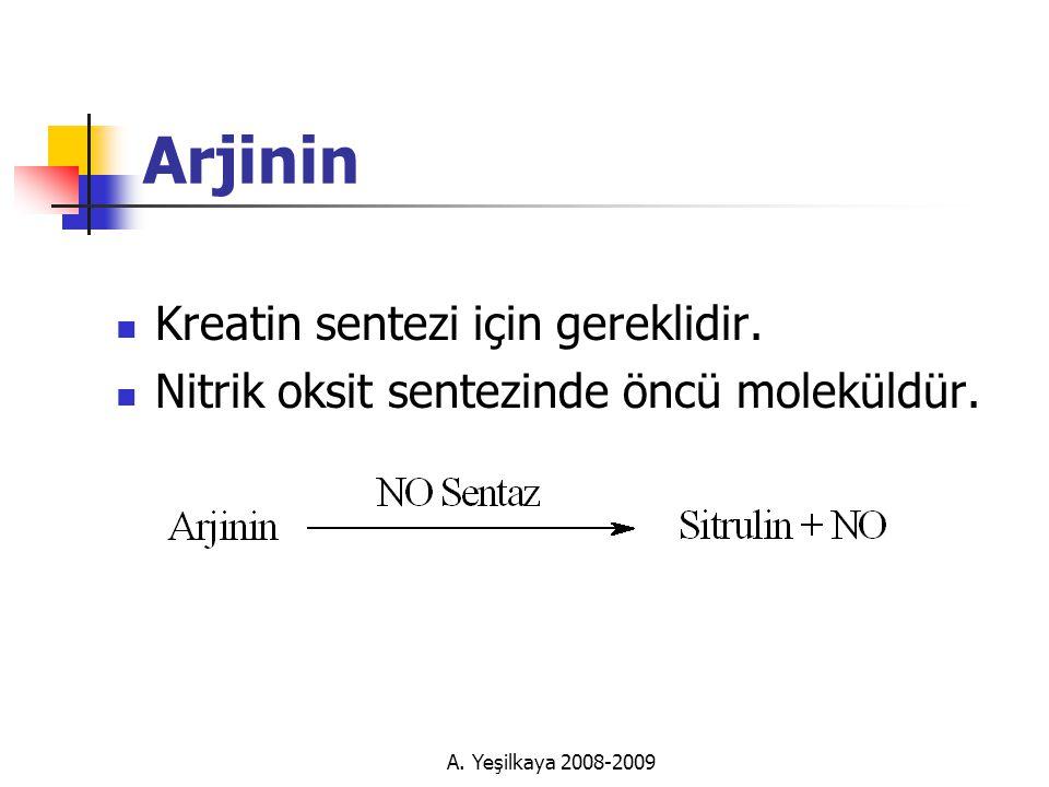 A.Yeşilkaya 2008-2009 Arjinin  Kreatin sentezi için gereklidir.